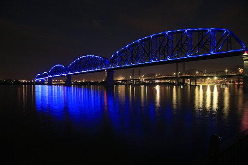 Louisville bridge at night