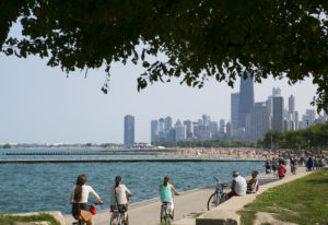 Cycling along Lake Michigan Chicago