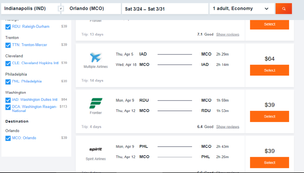 Sample Airfares Orlando